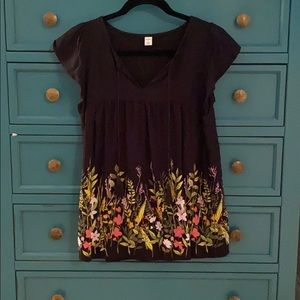 Old Navy Black & Floral Top